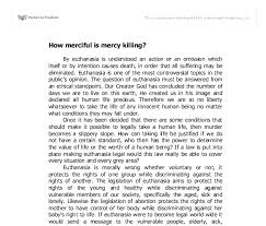 how merciful is mercy killing gcse religious studies  document image preview
