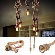 details about pendant light fittings hemp rope ceiling lamp loft vintage chandelier e27 base w