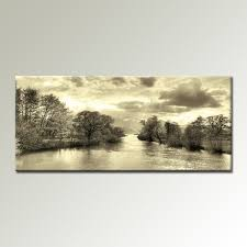 cream black and white landscape 44x20 inch panoramic canvas wall art print