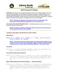 Apa Style Edition 6 Pdf Apa Format 6 Th Edition Shing Vip Academia Edu
