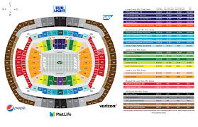 Giants Field Seating Chart Credible Meadowlands Stadium Seating Chart Metlife Stadium