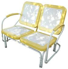 metal retro glider yellow patio chairs furniture cushions eclectic and outdoor