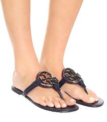 tory burch miller sandals patent leather in blue