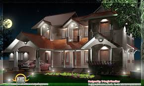 2800 square feet kerala style house night elevation view