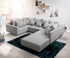 Couch Clovis Grau Flachgewebe Mit Hocker Und Armlehne Wohnlandschaft