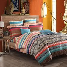 red blue and brown moroccan style tribal stripe print exotic vintage chic western 100 cotton damask full queen size bedding sets