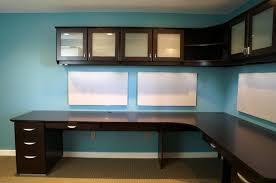 idea office furniture. Corner Office Desk With Hardwood Combine Cabinet Wall Mounted Idea Also Blue PAint Furniture