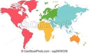 Political Blank World Map Vector Illustration With Different Colors For Each Continent And Isolated On White Background Editable And Clearly Labeled