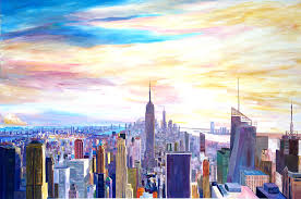 new york painting new york city manhattan panorama with wtc chrysler empire state building by