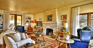 Living Room:Luxury Spanish Style Living Room With White Rug And Two Brown  Chair And