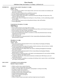 Clerk Resume Sample Pharmacy Clerk Resume Samples Velvet Jobs 7