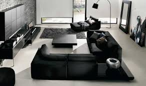 black living room furniture sets in modern design with white wall paint color combined with black brick living room furniture