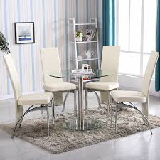 Amazon Com 4family 5 Pc Round Glass Dining Table Set With 4