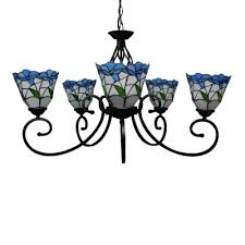 25 5 inch wide blue stained glass five light tiffany chandelier ceiling light