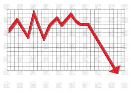Down Arrow Chart Red Arrow Graph Moving Down Stock Vector Image