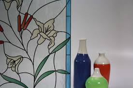 stained glass flowers cattails