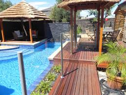 Backyard Pool Landscaping Minimalist Backyard Pool Landscaping With Small Gazebo And Pallet