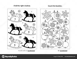 two visual puzzles coloring page kids find shadow each picture stock vector