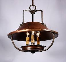 sold remarkable antique arts crafts three light copper chandelier