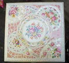 table top made of broken china dishes