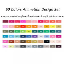 Touch Marker Chart Touchnew Sketch Markers 60 Pen Animation Manga Design Color Set