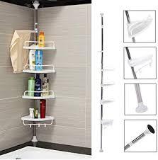 SavingPlus Telescopic <b>Corner</b> Shelf with 4 Shelves <b>Bathroom Shelf</b> ...