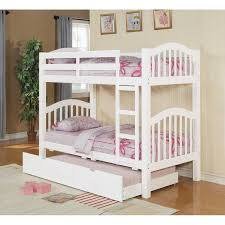 interesting white wooden bunk beds with trundle which has beige fls comforters sets also glazed brown solid wood laminate floor