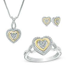 diamond accent heart pendant ring and earring set in sterling silver and 10k gold