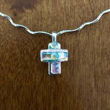 small dichroic glass cross pendant