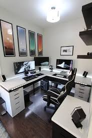 triple seated home office area. Home Office Computer Setup. Amazing Desk Setup Ideas Magnificent Design With 1000 Triple Seated Area