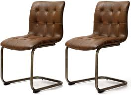 faux leather chair. Industrial Faux Leather Button Back Dining Chair (Pair) R