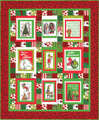 Merry Grinchmas panel quilt pattern | Dr. Seuss fabric projects ... & How The Grinch Stole Christmas Grinch Quilt Panel Fabric by Seuss  Enterprises Robert Kaufman Adamdwight.com