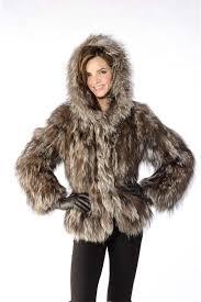 24 adrienne landau knit silver fox hooded jacket parka size 6 8