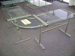 image of new glass l shaped desk