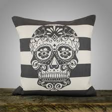 Sugar Skull Bathroom Decor Sugar Skull Pillow Cover Black And White Stripe Pillow