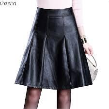 lxunyi plus size black faux leather skirts 2019 autumn winter washing pu leather skirt knee length fashion a line skirts women