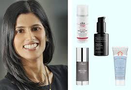dr sejal shah her favorite skincare s on a blue background