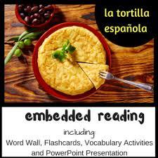 Presentation Foods Spanish Foods Embedded Reading La Tortilla Española Vocabulary Presentation