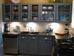 amusing smalll grey kitchen cabinets collection with black countertop