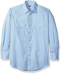 Ely Cattleman Mens Long Sleeve Solid Western Shirt Light Blue Large