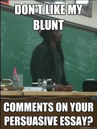 don t like my blunt comments on your persuasive essay rasta  don t like my blunt comments on your persuasive essay