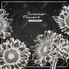 スタイリッシュな花の背景手描きレトロひまわりチョークで書く黒板夏背景スタイルベクトル イラスト