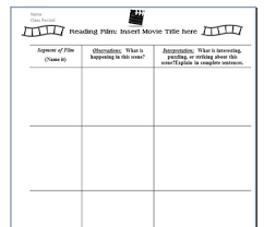 Movie Analysis Chart Graphic Organizer For Reading Writing About Film