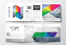 Vector Set Of Tri Fold Brochures Square Design Templates With