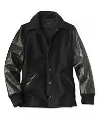 men s varsity shirt collar black jacket with leather sleeves