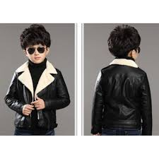 fashion black winter leather jacket for kids
