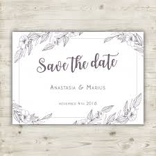 Hand Drawn Floral Save The Date Card Vector Free Download