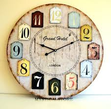 wall clock wooden large wood vintage retro antique shabby chic distressed  australia . wall clock wooden ...