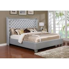 Best Quality Furniture Faux Leather Upholstered Panel Bed With Crystal  Tufted Headboard