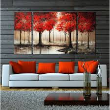 Hand-painted 'Through The Trees' 3-piece Gallery-wrapped Art Set